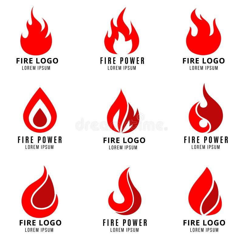 Logo di vettore fissato con i simboli di fuoco royalty illustrazione gratis