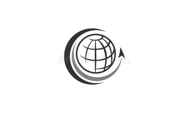 Logo di viaggio con il globo e la freccia royalty illustrazione gratis