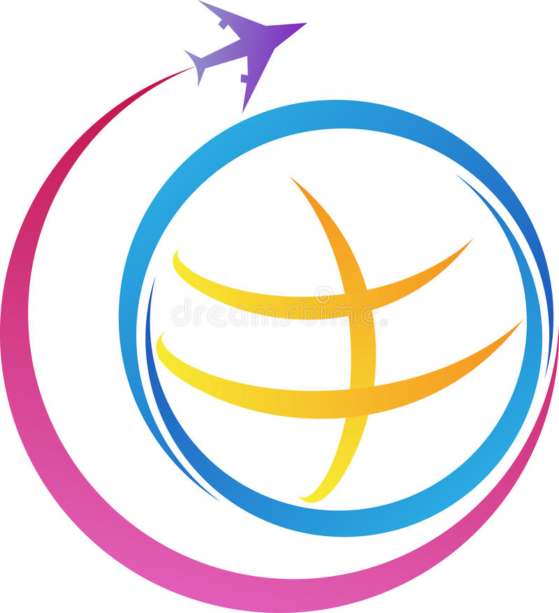 Logo di viaggio intorno al mondo illustrazione vettoriale