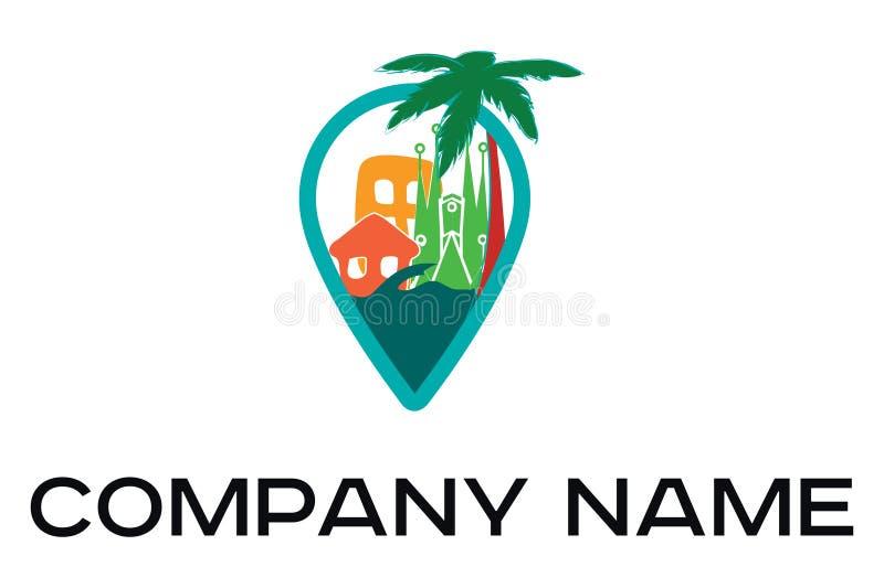 Logo di viaggio di vettore di colore con le palme e le costruzioni royalty illustrazione gratis