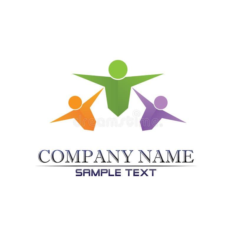 Logo di vita di salute di successo di cura della gente illustrazione vettoriale