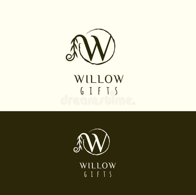 Logo di vwctor del salice Logo della lettera di W Icona della lettera di W illustrazione vettoriale