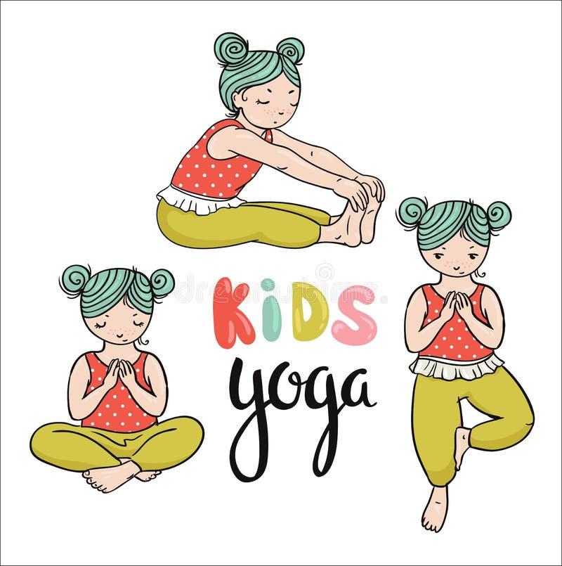 Logo di yoga del bambino Ginnastica per i bambini Manifesto sano di stile di vita Illustrazione di vettore Tre ragazze nelle pose royalty illustrazione gratis