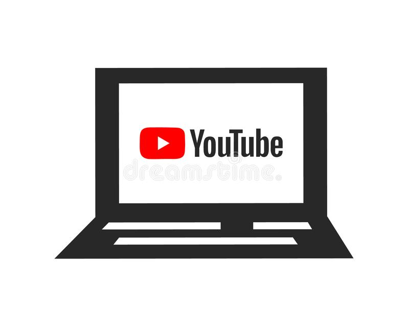 Logo di YouTube sullo schermo Icona del computer portatile Media sociali e video segno dividente