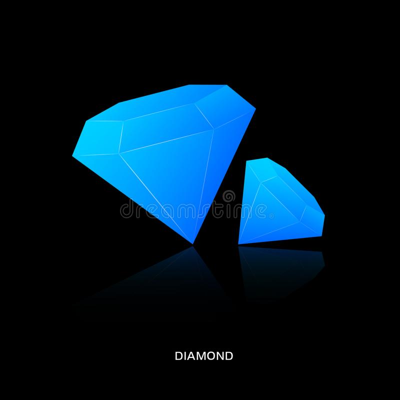 Logo diamond crystal. Blue saphire stock illustration