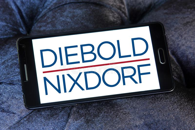 Diebold Nixdorf financial services company logo. Logo of Diebold Nixdorf on samsung mobile. Diebold Nixdorf is an American financial self service, security and royalty free stock photography