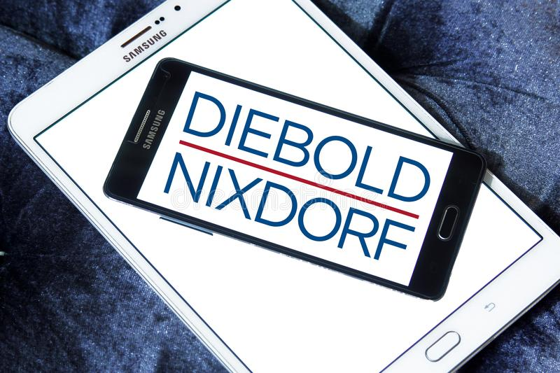 Diebold Nixdorf financial services company logo. Logo of Diebold Nixdorf on samsung mobile. Diebold Nixdorf is an American financial self service, security and royalty free stock photo