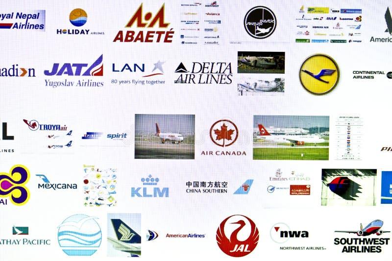 Logo différent de compagnies aériennes photos stock