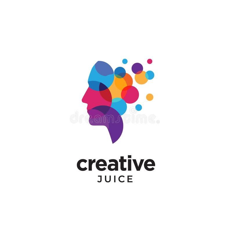 Logo Digital abstrakt för mänskligt huvud för idérikt stock illustrationer