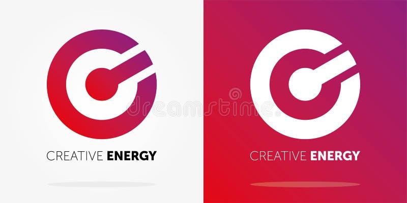 Logo dinamico di energia creativa con la pendenza Disegno astratto di marchio Marchio creativo illustrazione di stock