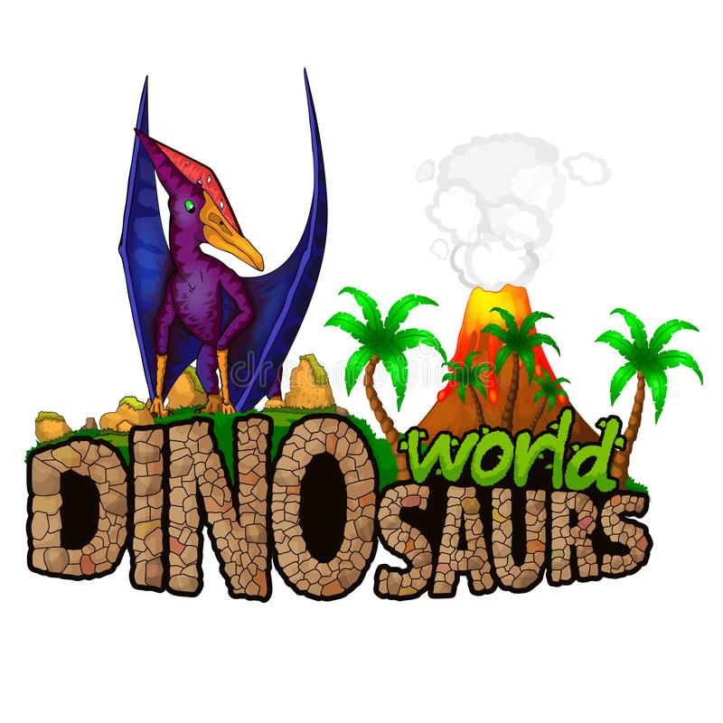 Logo Dinosaurs World stock illustrationer