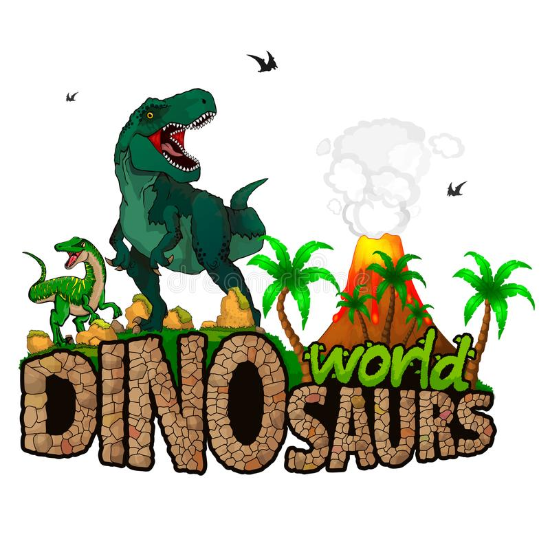 Logo Dinosaurs World vektor illustrationer
