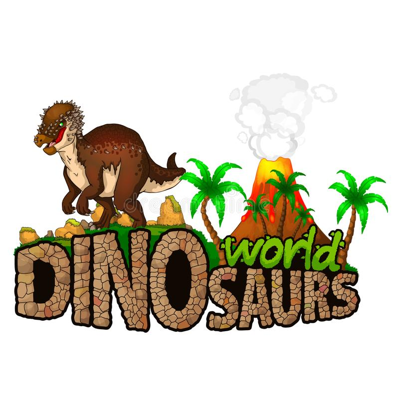 Logo Dinosaurs World också vektor för coreldrawillustration royaltyfri illustrationer
