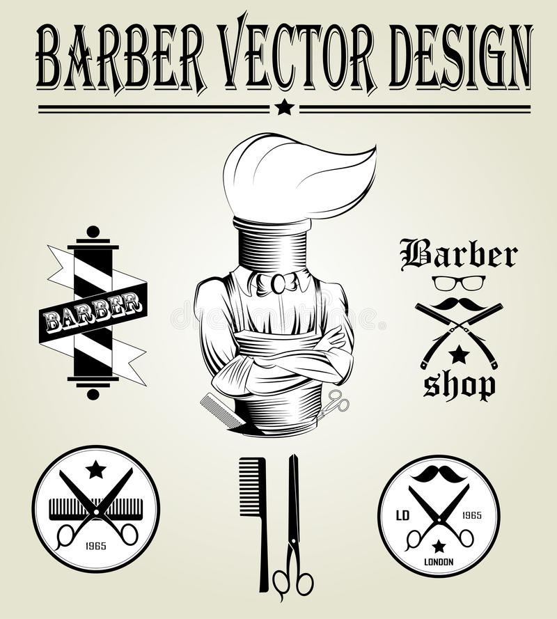 Logo disegnato a mano d'annata del negozio di barbiere illustrazione vettoriale