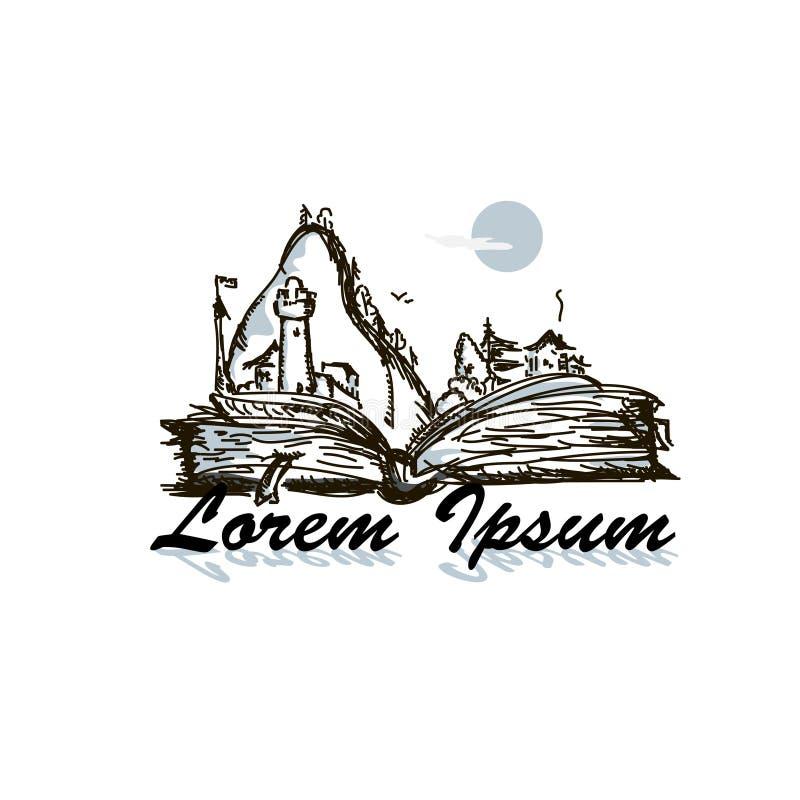 Logo disegnato a mano insolito di schizzo con il libro royalty illustrazione gratis