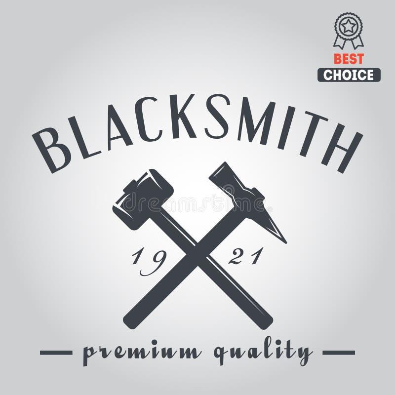 Logo dla blacksmith, typograficzny logotyp, odznaka ilustracja wektor
