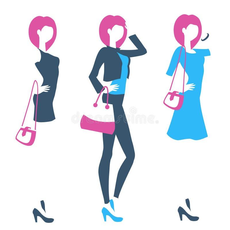 Logo dla butika, sklep odzieżowy, online sklep z trwanie wom royalty ilustracja