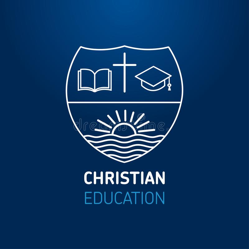 Logo dla edukaci, otwartej książki, krzyża, kwadratowej akademickiej nakrętki i słońca na rzece kościół lub chrześcijaństwa, royalty ilustracja