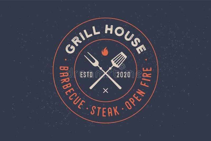 Logo dla grilla domu restauraci royalty ilustracja