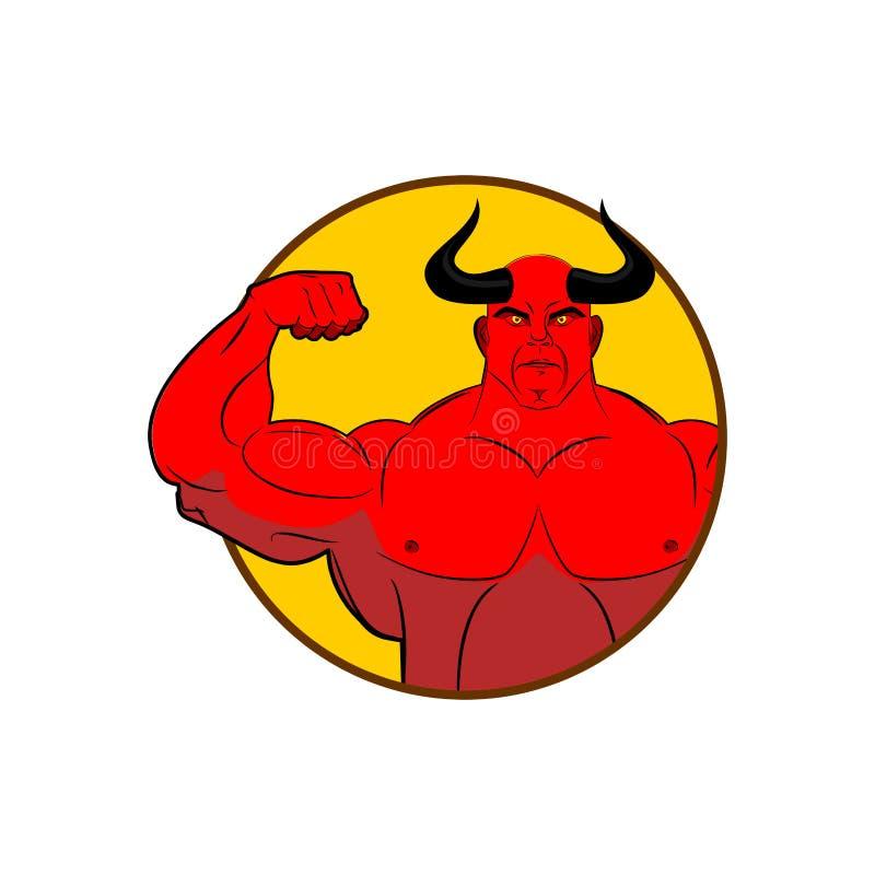 Logo dla gym Szatanu bodybuilder pokazuje bicepsy Emblemat dla sportów royalty ilustracja