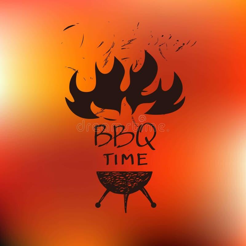 Logo dla kawiarni grilla piekarnik, grill dla domu, bar, restauracja royalty ilustracja