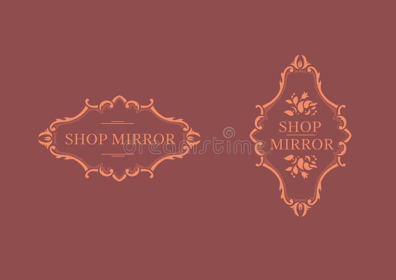 logo dla sklepów luster, kwiecista rama ilustracji