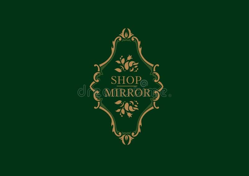 logo dla sklepów luster, kwiecista rama royalty ilustracja