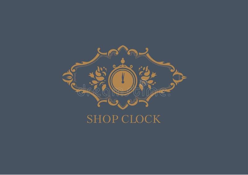 Logo dla sklep godzin, kwiecista rama ilustracji