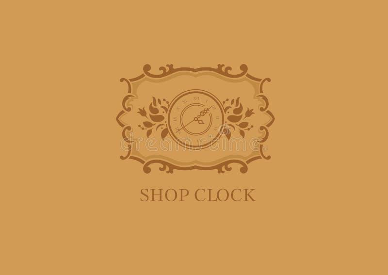 Logo dla sklep godzin, kwiecista rama royalty ilustracja
