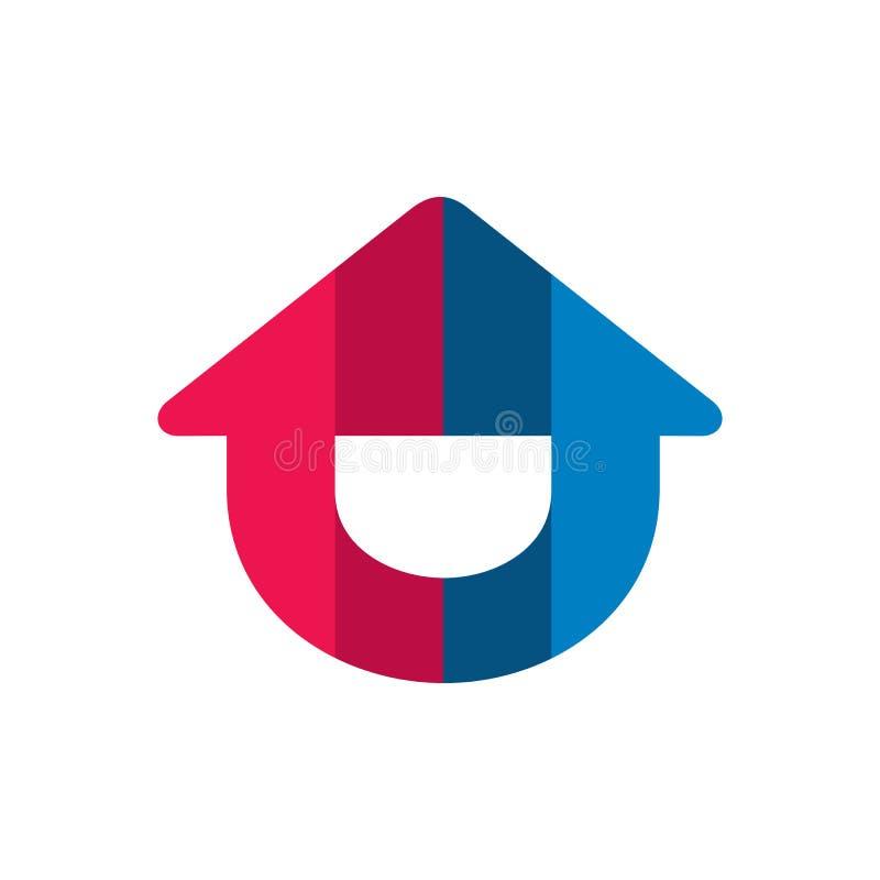 Logo domestico di circolazione di aria Progettazione sorridente felice dell'icona della Camera Riscaldamento e sistemi di raffred illustrazione di stock