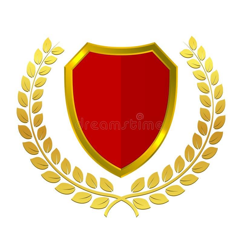 Logo dorato dello schermo con la corona dell'alloro Rosso ed illustrazione araldica medievale di vettore dell'oro Icona d'annata  illustrazione vettoriale