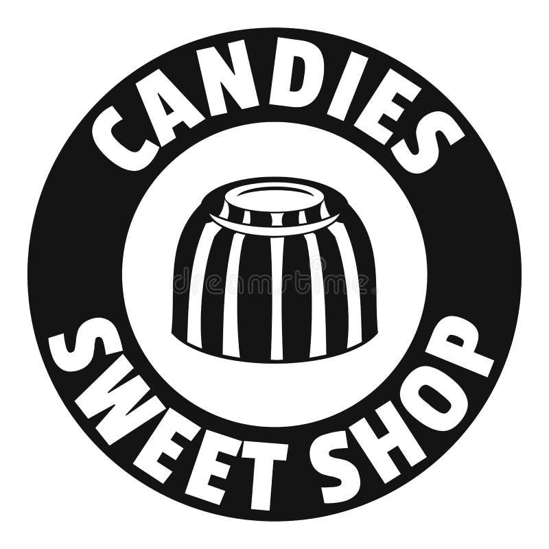 Logo doux de boutique de sucreries, style noir simple illustration de vecteur