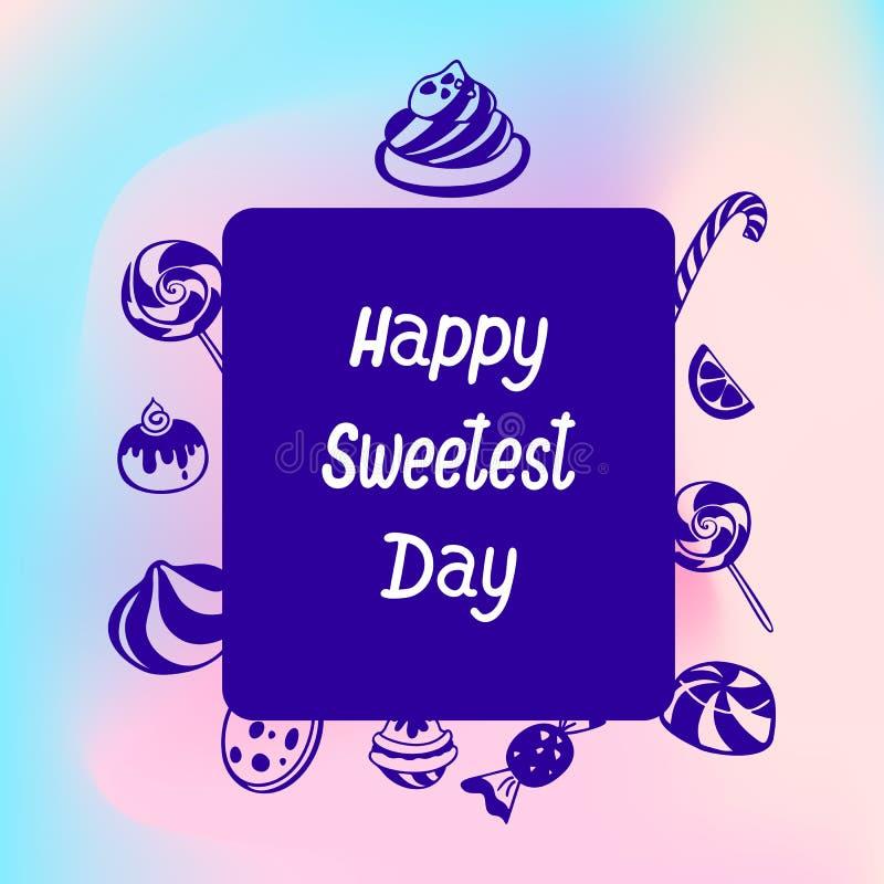 Logo doux de jour de sucrerie heureuse, style simple illustration de vecteur