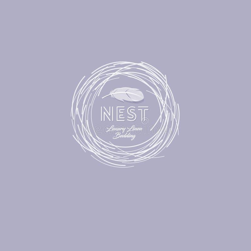 Logo doux de nid Emblème de confort Toile de luxe Logo de literie Nid avec la plume sur un fond foncé illustration de vecteur