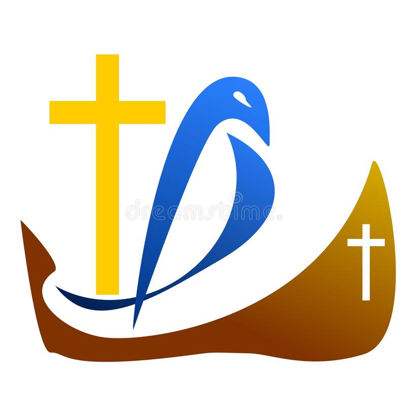 Logo dove with a cross on the ship. A vector drawing represents dove logo design with a cross on a ship. Dove in the sea with god stock illustration