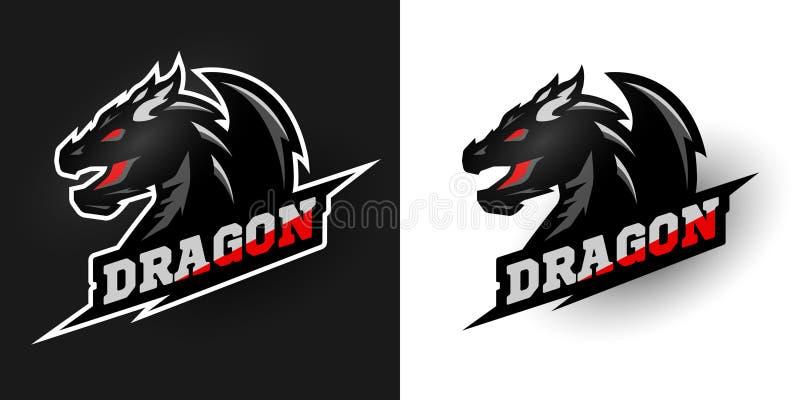 Logo Dragon, estilo deportivo Dos opciones stock de ilustración