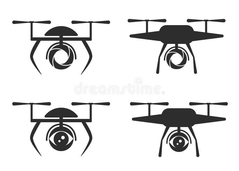 Logo dron. Logo, sign, symbol for dron, quadrocopter, flat modern style royalty free illustration