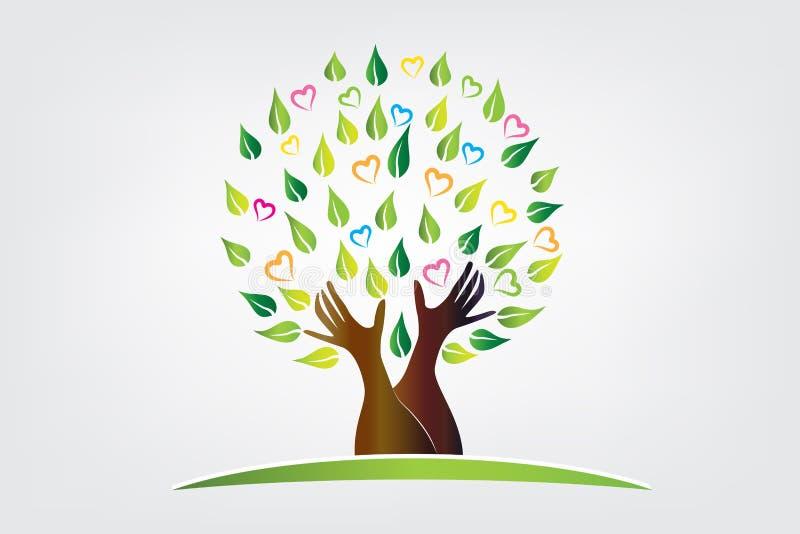 Logo drzewo z ochronną ręka symbolu ikoną ilustracja wektor
