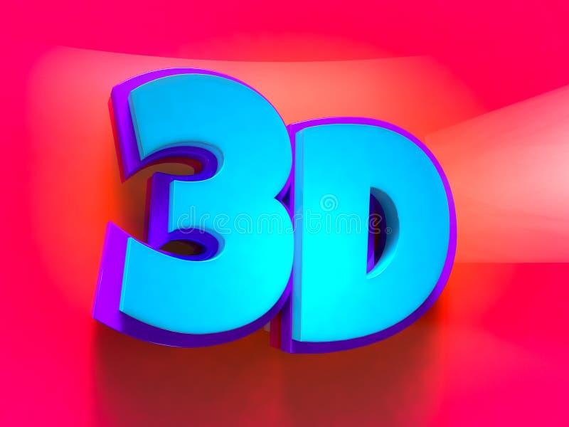 logo du mot 3d amusement de bande dessinée et style futuriste images libres de droits
