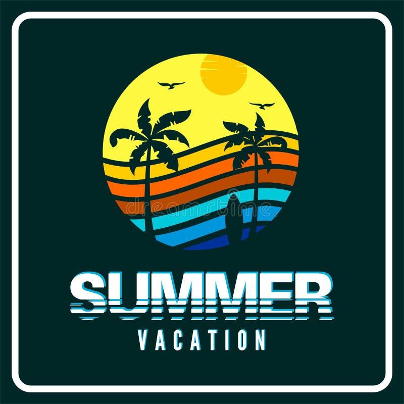 Logo du vacteur de vacances d'été en arrière-plan illustration stock