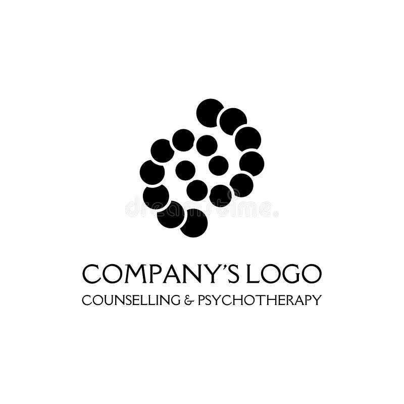 Logo - due spirali, catene dei cerchi - un simbolo di interazione, di nuove idee, di sviluppo, del chiarimento e della saggezza illustrazione di stock