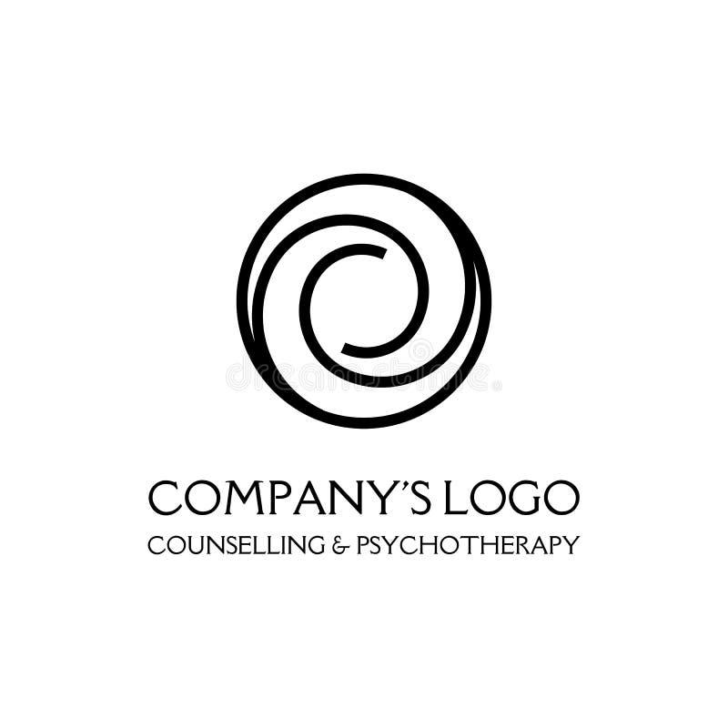 Logo - due spirali nel cerchio - un simbolo di interazione, di nuove idee, di sviluppo, del chiarimento e della saggezza illustrazione vettoriale