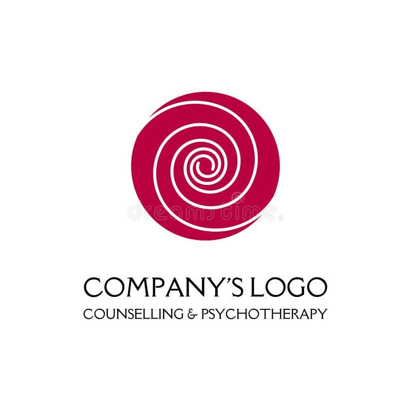 Logo - due spirali sottili in un cerchio - un germoglio di fiore - un simbolo di interazione, crescita, sviluppo, chiarimento, be illustrazione di stock