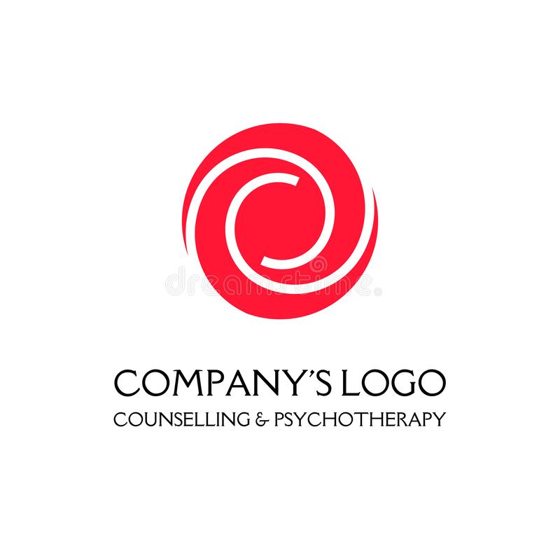Logo - due spirali in un cerchio - un germoglio di fiore - un simbolo di interazione, crescita, sviluppo, chiarimento, bellezza e illustrazione vettoriale