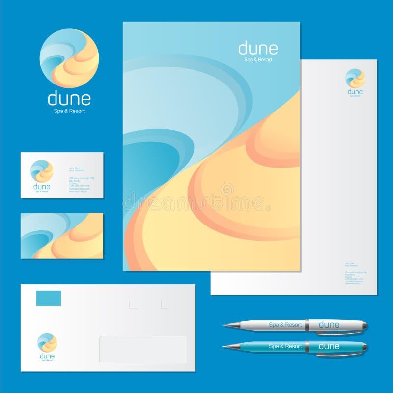 Logo dunaire de &Resort de station thermale Logo de mer et de sable et identité d'entreprise illustration stock