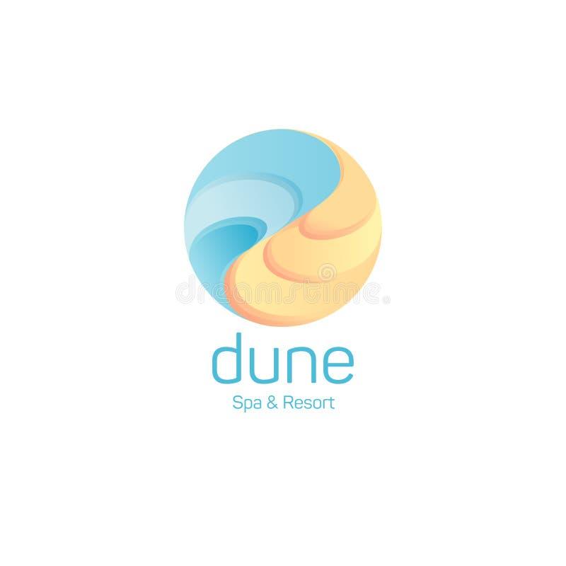 Logo dunaire Emblème de station thermale et de station de vacances Sable et eau en cercle illustration libre de droits