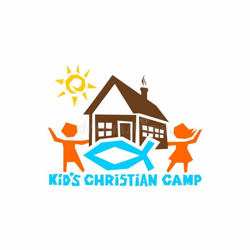 Logo dzieciaka ` s chrześcijanina obóz Dom słońce dzieci ryba - znak Jezus royalty ilustracja