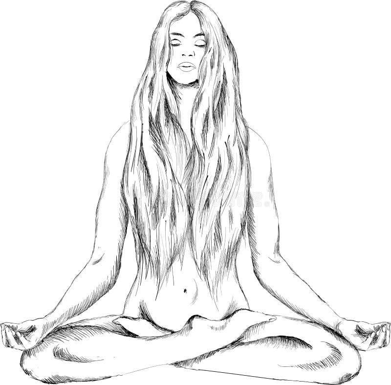 Logo dziewczyny nagi joga royalty ilustracja