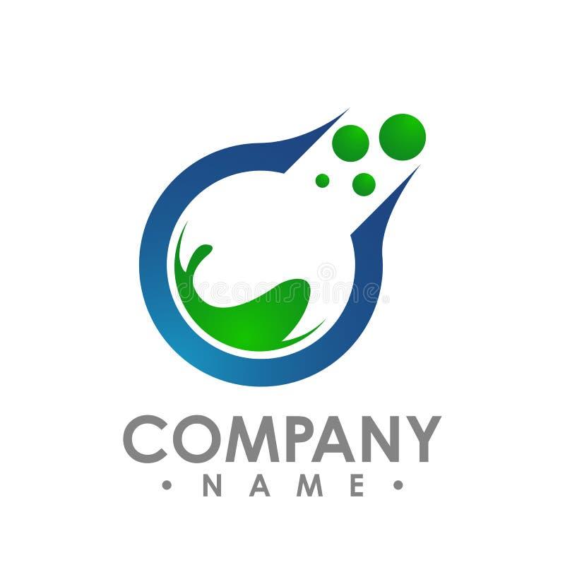 Logo e modello per lo studio creativo, medico, Ch del biglietto da visita illustrazione vettoriale