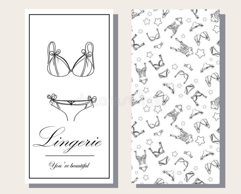 Logo e modello senza interruzioni per la collezione di biancheria femminile 'Fashionable', sketch illustrativo BRAND STYLE illustrazione vettoriale